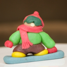 Snowboarder made of marzipan.