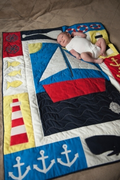Baby Jack on his Sailing Quilt