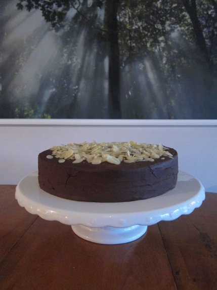 Vanilla and Chocolate Sponge cake with Hazelnut Baileys Chocolate Ganache and Almonds.
