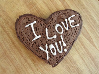 I love you heart in chocolate swirls.