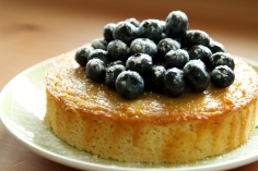 Dairy and Gluten Free Lemon Drizzle Cake with Blueberries.