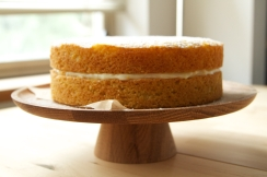 Clementine Sponge with clementine buttercream icing and lemon curd filling.