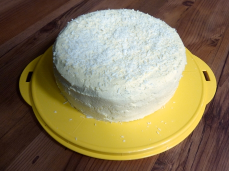 Gluten free Carrot Cake with cream cheese icing and coconut.