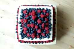 Vanilla sponge with vanilla buttercream icing and raspberry jam in the middle, decorated with raspberries and blueberries.