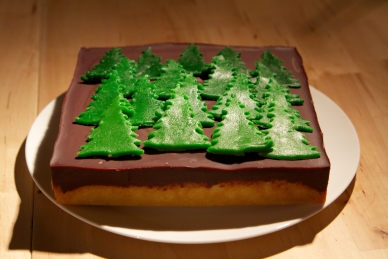 Orange tunis sponge with chocolate icing and marzipan tree decoration.