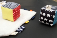 Fabric tag blanket for babys and fabric stacking cube blocks