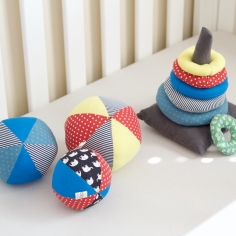 Fabric stacking rings baby toy and three fabric baby ball toys made for Annabel.