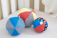 Three fabric baby ball toys made for Annabel.