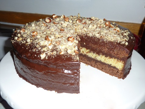 Chocolate and Vanilla layered cake with Hazelnut Baileys chocolate Ganache.