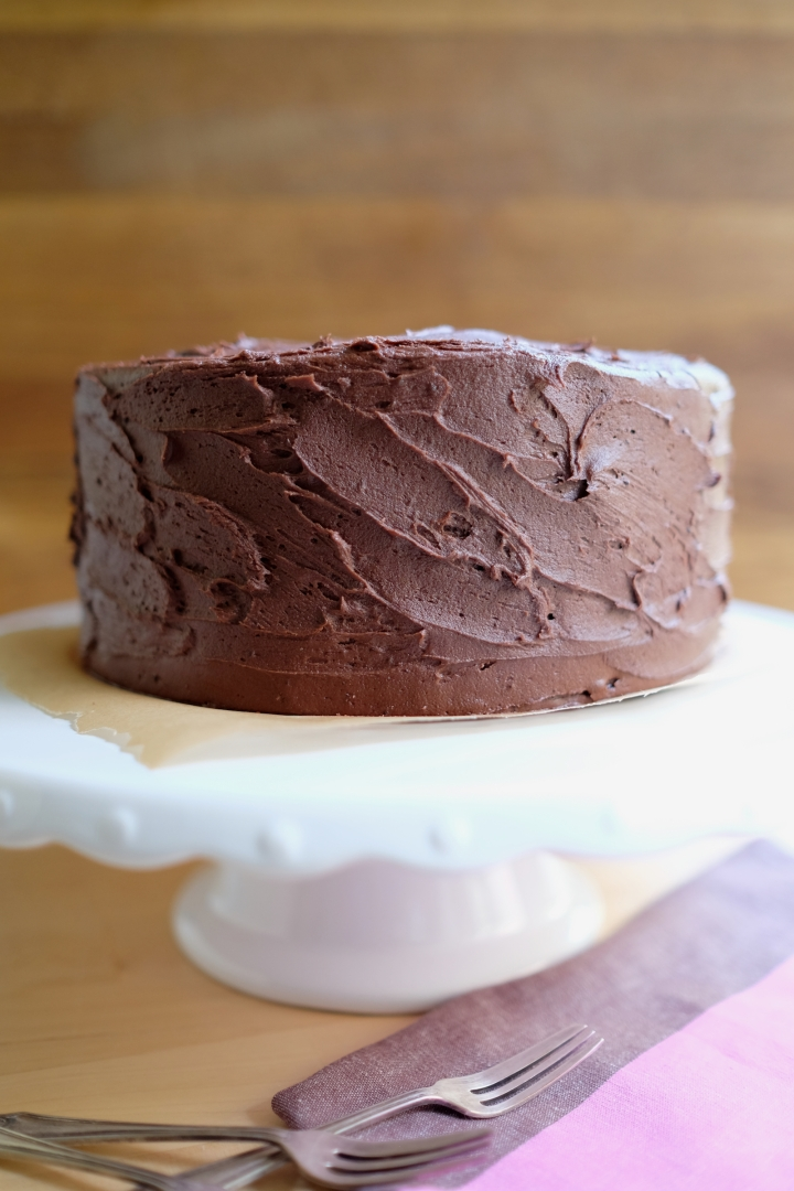 Delicious chocolate cake with chocolate buttercream icing.