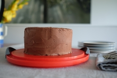 Chocolate cake with chocolate buttercream icing.