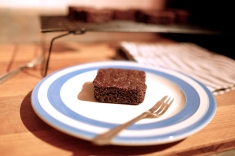 Gluten free and vegan chocolate brownie squares.