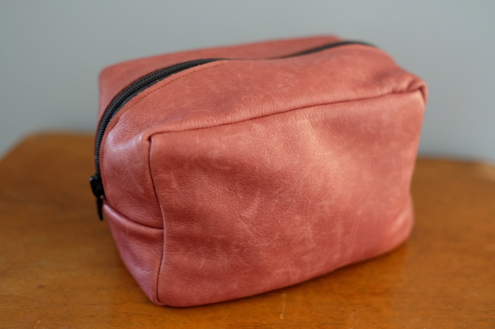Leather zip bag.