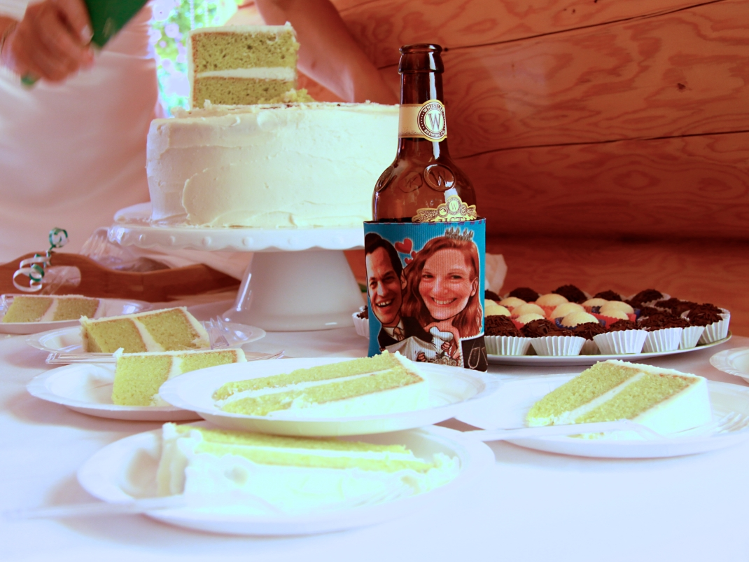 Inside Maz and Tim's green wedding cake with their green knife. Green vanilla sponge with lemon buttercream icing.